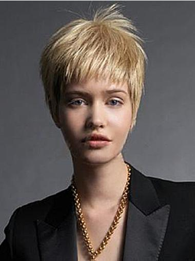 Blonde Straight Remy Human Hair High Quality Short Wigs