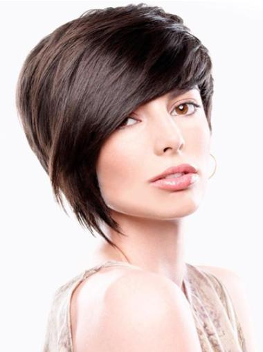Brown Straight Remy Human Hair Beautiful Short Wigs