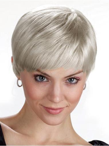 Easy Straight Cropped Synthetic Grey Wigs