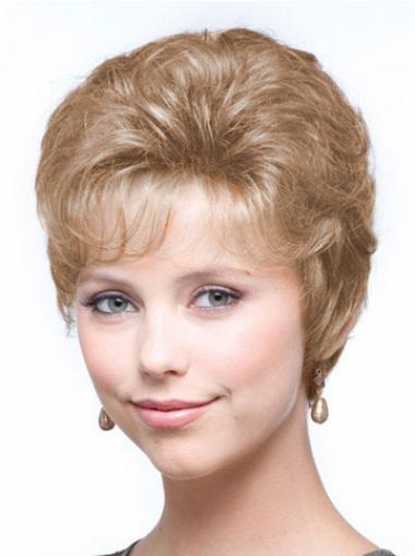 Preferential Blonde Wavy Cropped Classic Wigs