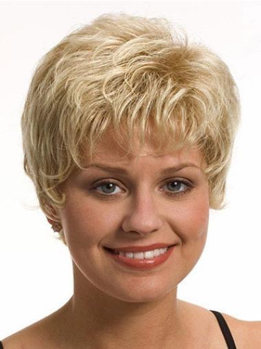 Modern Wavy Boycuts Blonde Short Wigs