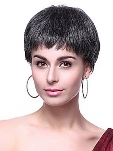 Black Straight Synthetic Cool Short Wigs