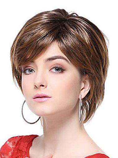 Brown Trendy With Bangs Straight Short Wigs