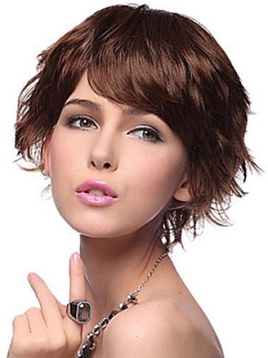 Online Auburn Layered Wavy Short Wigs