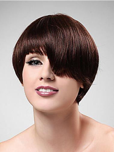 Pleasing Auburn Boycuts Straight Short Wigs