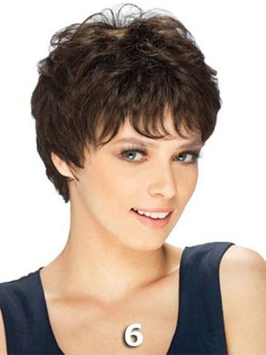 Brown Perfect Remy Human Hair Straight Short Wigs