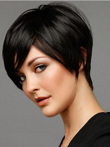 Black Straight Remy Human Hair Shining Short Wigs