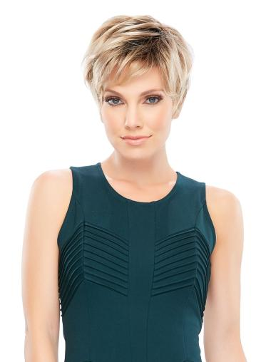 Blonde Sleek Boycuts Straight Short Wigs
