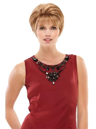 Stylish Blonde Monofilament Short Petite Wigs
