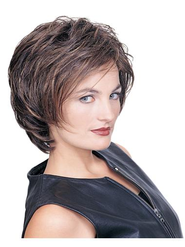 Brown Good Layered Wavy Short Wigs