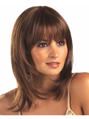 Lace Front Sleek Straight Synthetic Medium Wigs