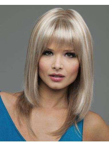 High Quality Blonde Straight Shoulder Length Lace Front Wigs