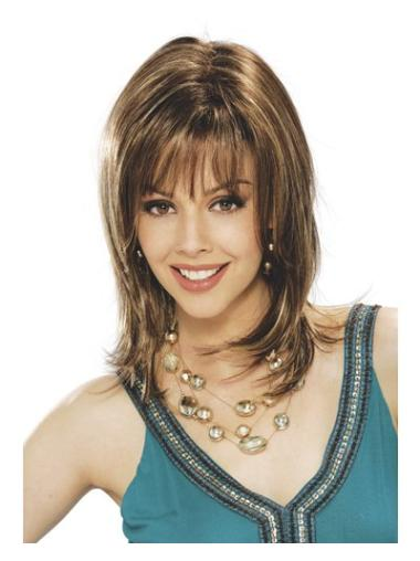 Brown Designed Straight Synthetic Medium Wigs