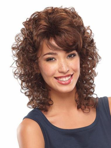 Unique Auburn Curly Shoulder Length Classic Wigs