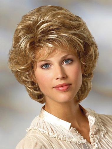 Faddish Blonde Curly Chin Length Classic Wigs
