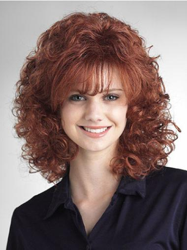 Traditiona Auburn Curly Shoulder Length Classic Wigs