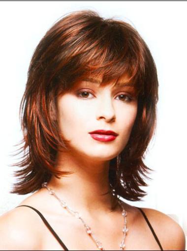 Cosy Synthetic Auburn Straight Medium Wigs