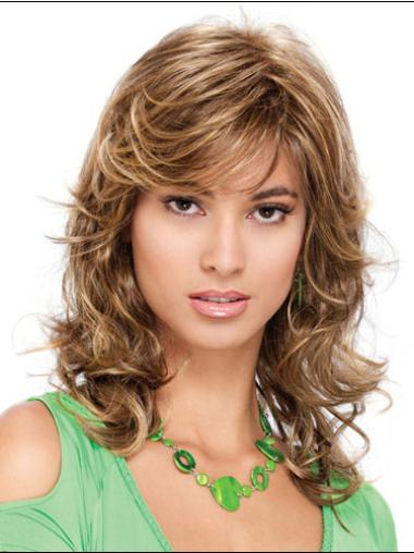 Classic Pleasing Blonde Curly Medium Wigs
