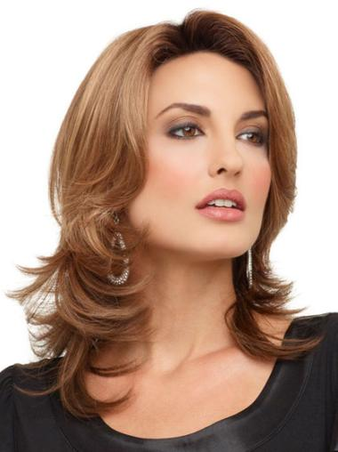 Lace Front Mature Wavy Synthetic Medium Wigs