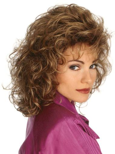 Style Brown Curly Shoulder Length Classic Wigs