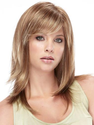Convenient Synthetic Brown Straight Medium Wigs