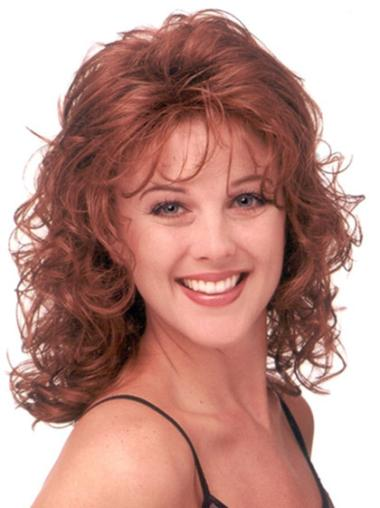 Good Red Curly Shoulder Length Classic Wigs