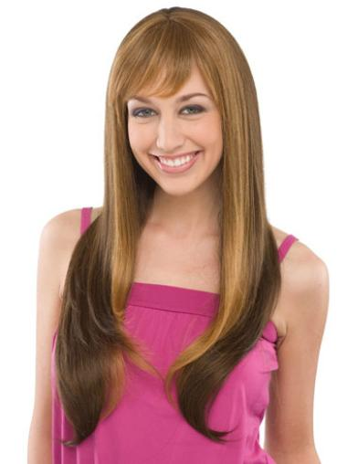 Brown Straight Remy Human Hair Trendy Long Wigs