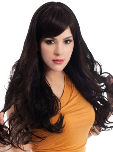 Easeful Synthetic Black Wavy Long Wigs