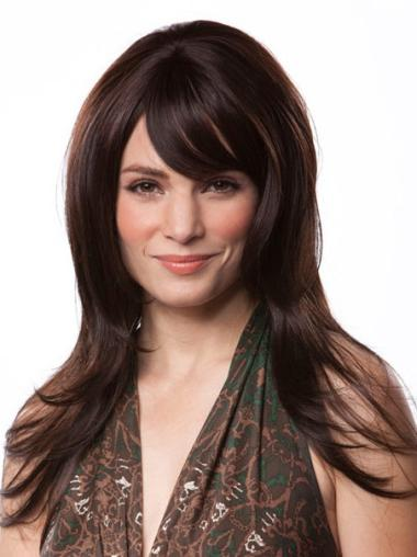 Fashion Auburn Straight Remy Human Hair Long Wigs
