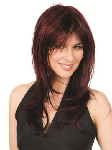 Durable Auburn Straight Synthetic Long Wigs