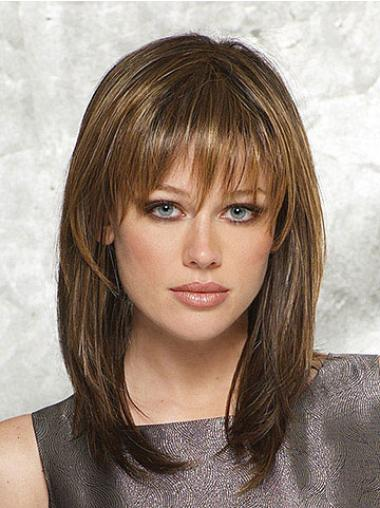 Brown Ideal Straight Synthetic Medium Wigs