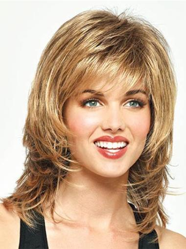 Blonde Straight Synthetic Fashionable Medium Wigs