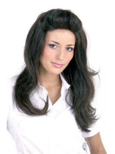 Designed Black Lace Front Remy Human Hair Long Wigs