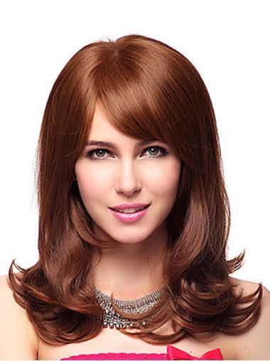 Stylish Auburn Wavy Shoulder Length Wigs