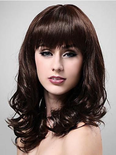 Brown Soft Wavy Synthetic Medium Wigs