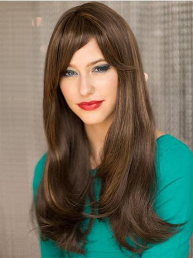 Brown Straight Remy Human Hair Graceful Long Wigs
