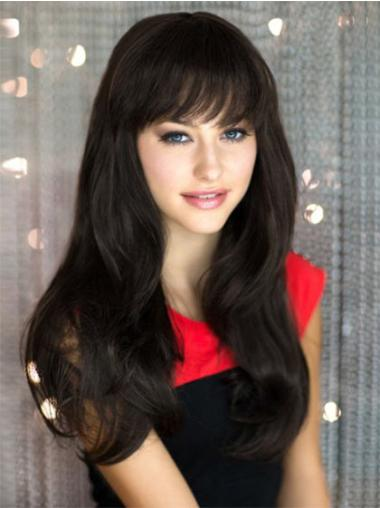 Convenient Black Straight Remy Human Hair Long Wigs