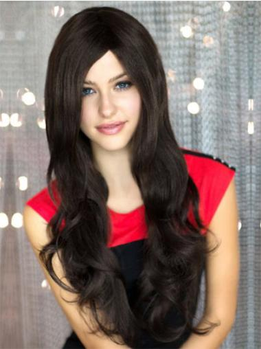 Black Wavy Synthetic Long Wigs