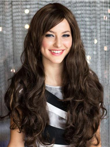 Wholesome Remy Human Hair Brown Wavy Long Wigs