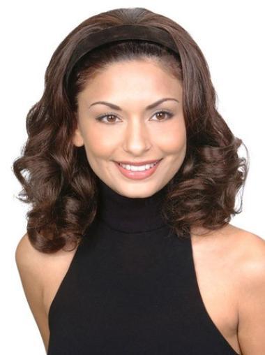 Gentle Brown Wavy Shoulder Length Human Hair Wigs & Half Wigs