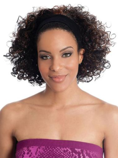 Refined Brown Curly Chin Length Human Hair Wigs & Half Wigs