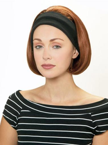 Elegant Auburn Straight Chin Length Human Hair Wigs & Half Wigs