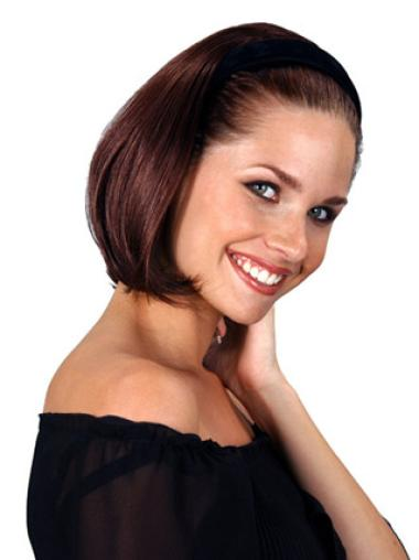 Trendy Auburn Straight Chin Length Human Hair Wigs & Half Wigs