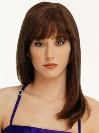 Preferential Auburn Straight Remy Human Hair Long Wigs