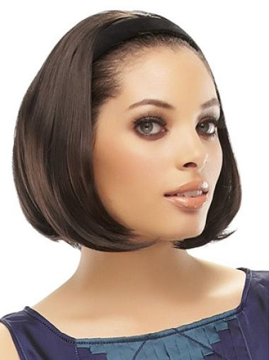Synthetic Brown Straight Medium Wigs