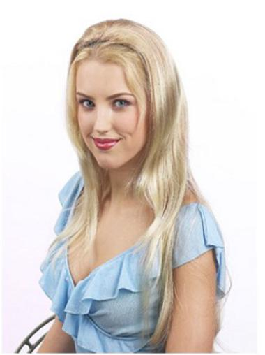 Fashionable Blonde Straight Long Human Hair Wigs & Half Wigs