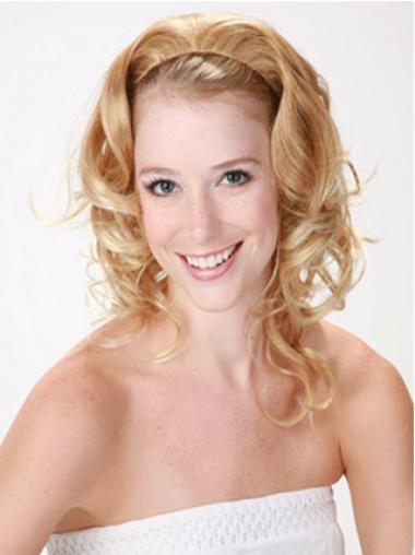 Blonde Curly Shoulder Length Human Hair Wigs & Half Wigs