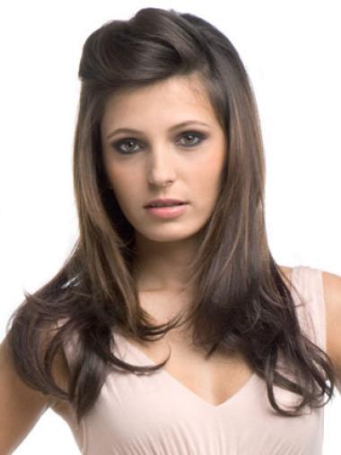 Fashion Brown Wavy Long Human Hair Wigs & Half Wigs