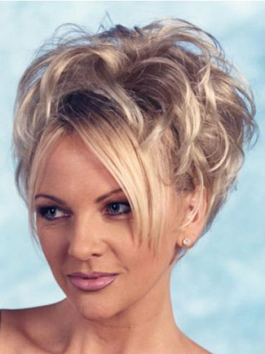Cheap Blonde Curly Short Human Hair Wigs & Half Wigs