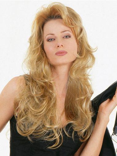 Sassy Blonde Wavy Long Human Hair Wigs & Half Wigs